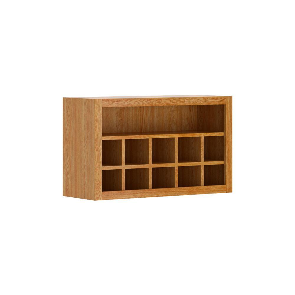 Hampton Bay Madison Embled 30x18x12 In Flex Wall Cabinet Medium Oak
