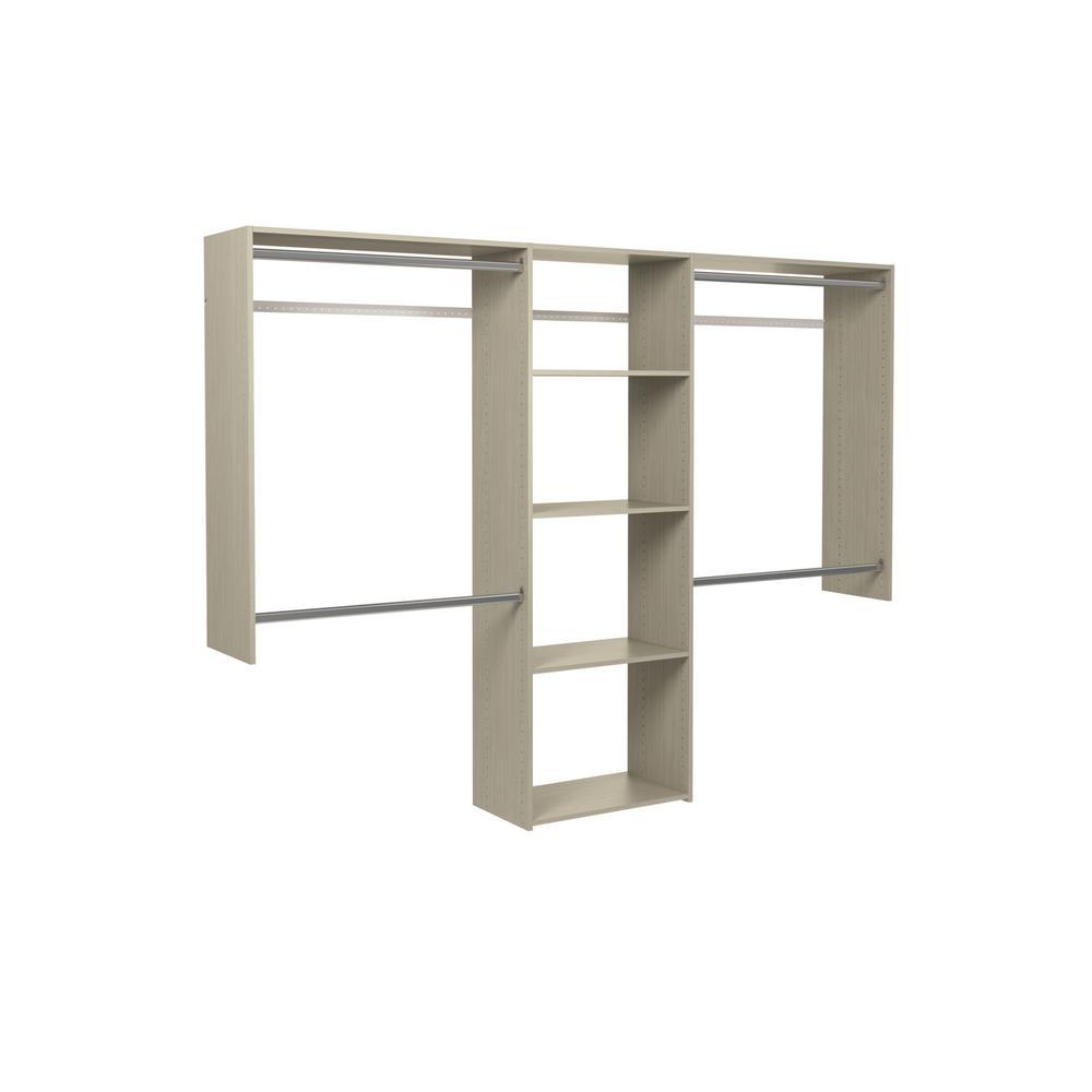 Essential Plus 60 in. W - 96 in. W Rustic Grey Wood Closet System