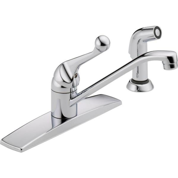 Classic Single-Handle Standard Kitchen Faucet with Side Sprayer and Fittings in Chrome