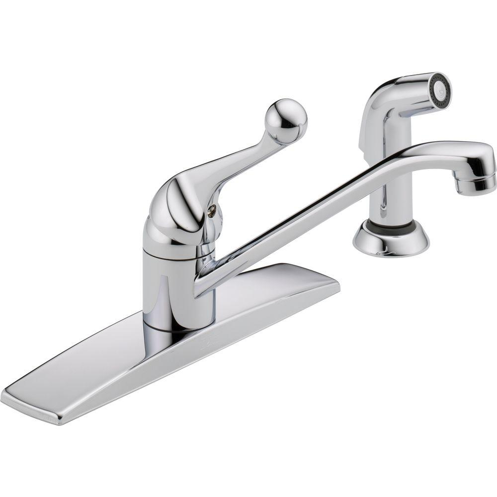 delta classic standard kitchen faucet with side sprayer and fittings in the home depot