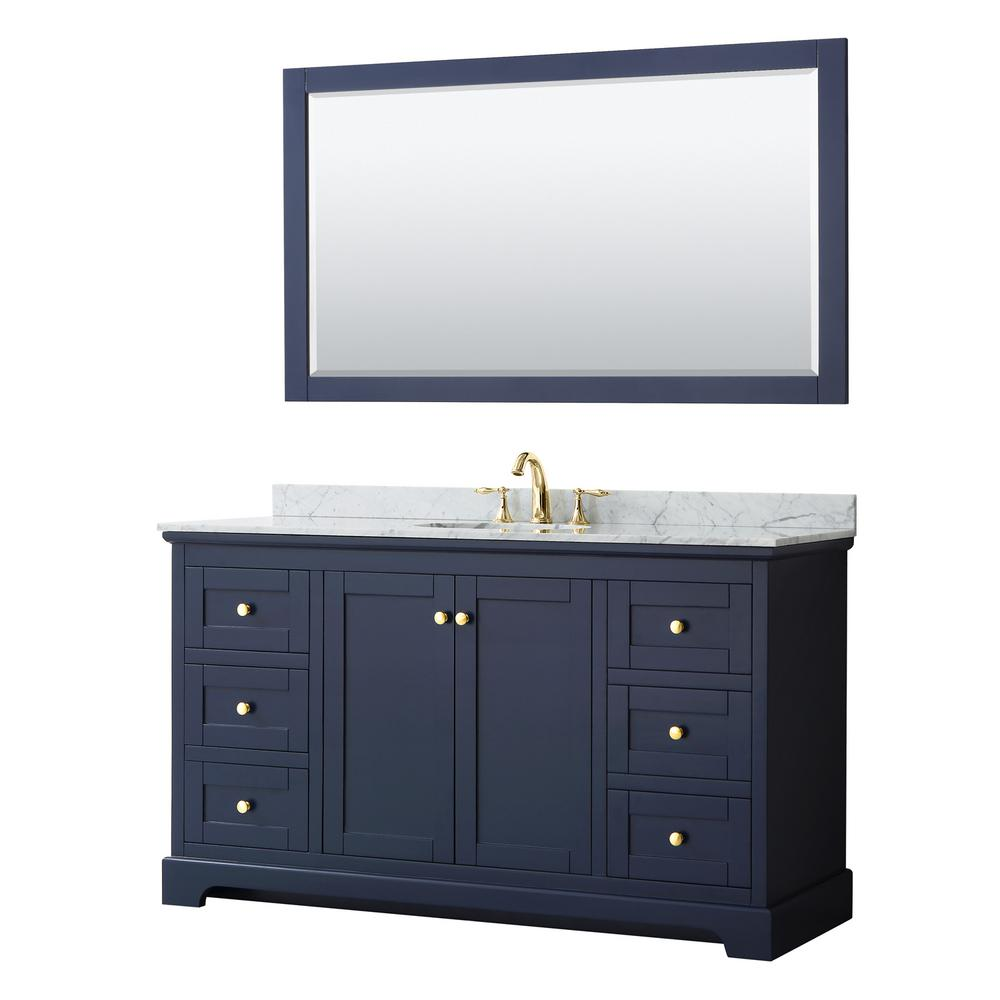 Wyndham Collection Avery 60 in. W x 22 in. D Bath Vanity in Dark Blue with Marble Vanity Top in White Carrara with White Basin and Mirror