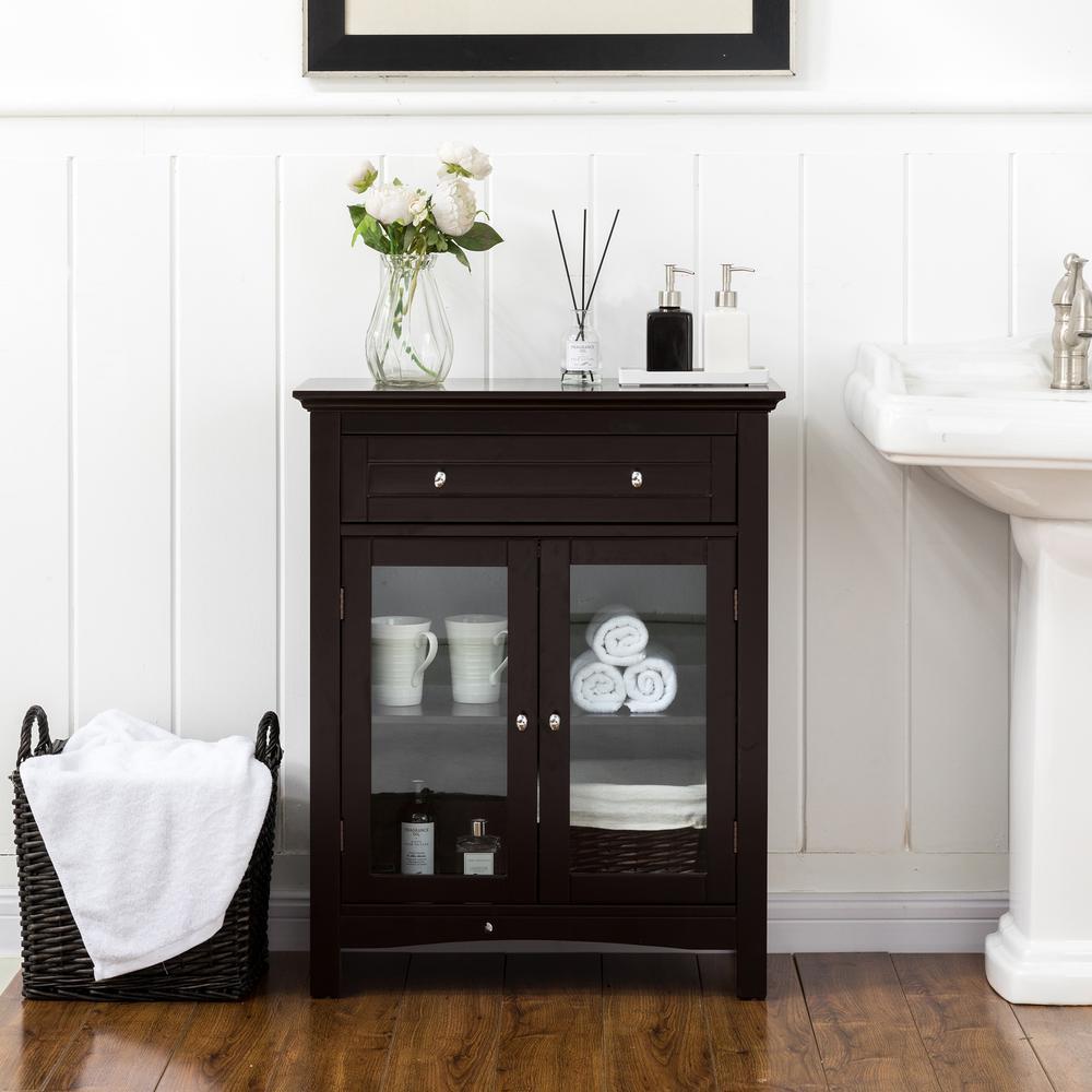 32.11 in. H Wooden Espresso Floor Storage Cabinet With Double Doors