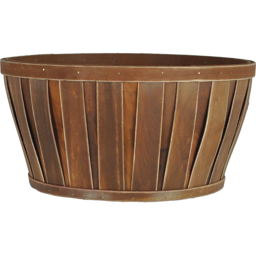 14 in. Wood Warm Brown Bushel Basket