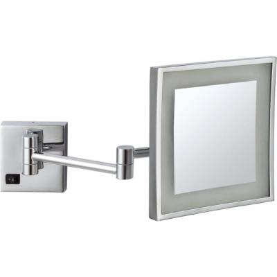 Glimmer 8 in. x 8 in. Wall Mounted LED 5x Rectangle Makeup Mirror in Chrome Finish