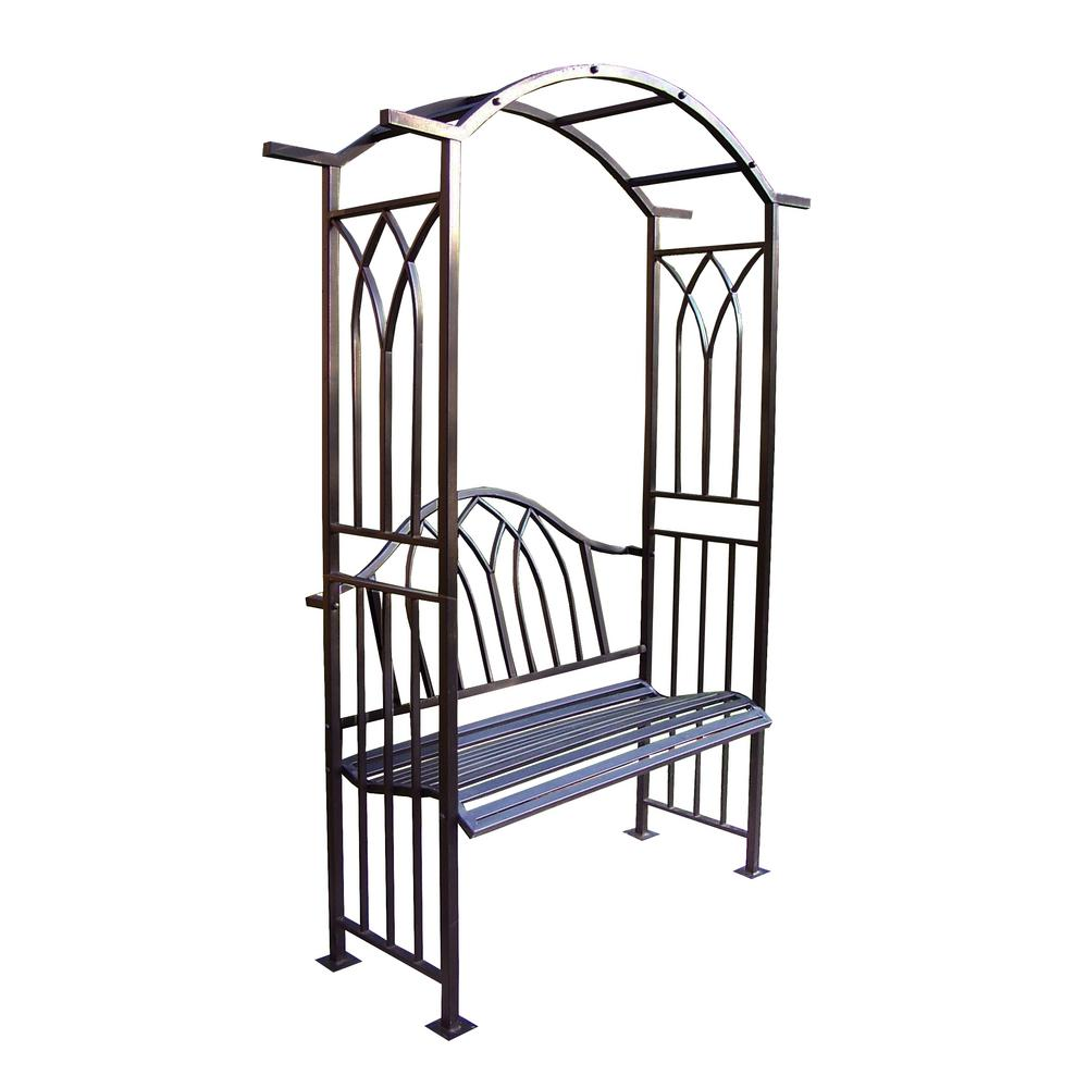Royal Metal Outdoor Bench with Arbor