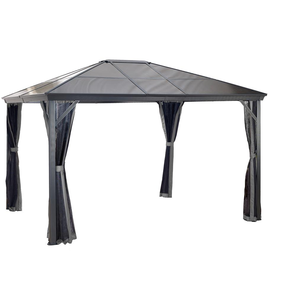 Sojag 10 ft. D x 12 ft. W Verona Aluminum Gazebo in Dark Gray with 2-Track System, UV-Protected Roof, and Mosquito Netting