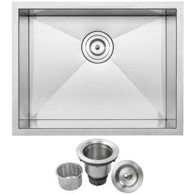 Pacific Zero Radius Undermount 16-Gauge Stainless Steel 22.5 in. Single Basin Kitchen and Bar Sink with Basket Strainer