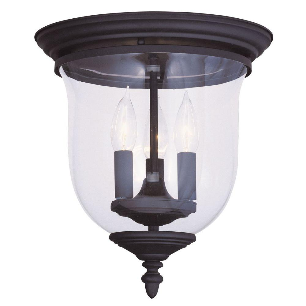 Livex Lighting 3-Light Black Flush Mount with Clear Glass Shade