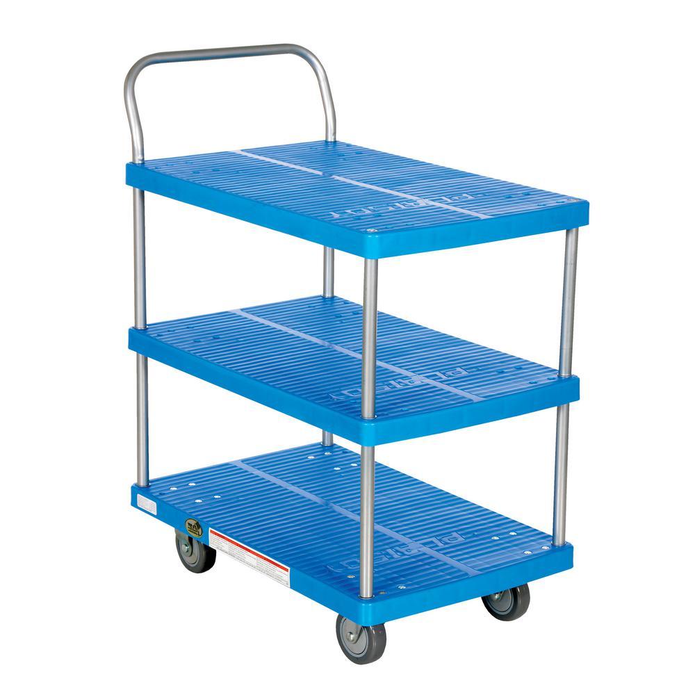 500 lbs. Capacity 28 in. x 18 in. 3 Shelf Plastic Platform Truck