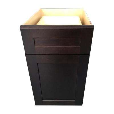 Plywell Ready to Assemble 12 in. x 34.5 in. x 24 in. Shaker Base Cabinet with 1-Door and 1-Drawer in Espresso