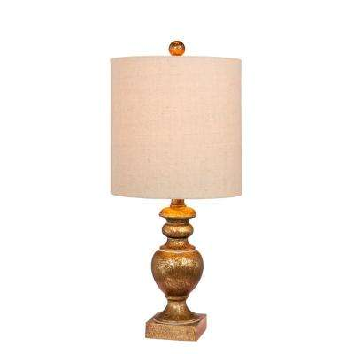 23 in. Textured Urn Resin Table Lamp in a Antiqued Gold Leaf