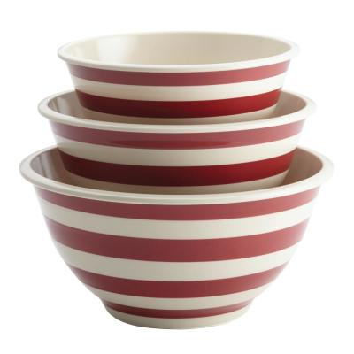 3-Piece Striped Red Melamine Mixing Bowl Set