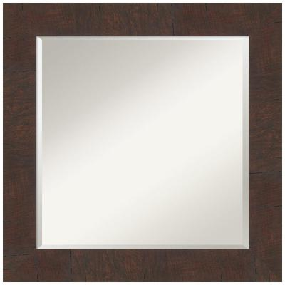 Medium Square Wildwood Brown Beveled Glass Casual Mirror (25.25 in. H x 25.25 in. W)