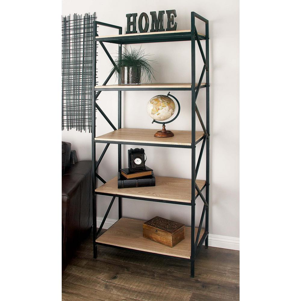 Light Brown 5-Tier Shelf with Black Iron Zigzag Frame