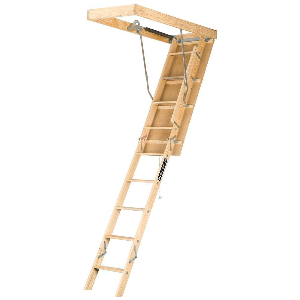 Louisville Ladder Premium Series 8 Ft.   10 Ft., 22.5 In X 54 In. Wood Attic  Ladder With 250 Lb. Maximum Load Capacity L224P   The Home Depot