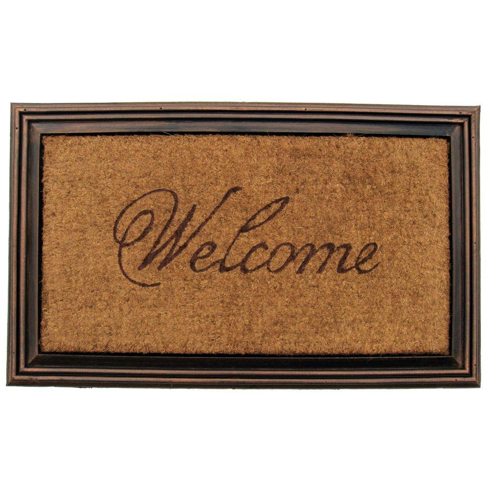 Entryways Coir Faux-wood 21 in. x 35 in. Welcome Border Door Mat