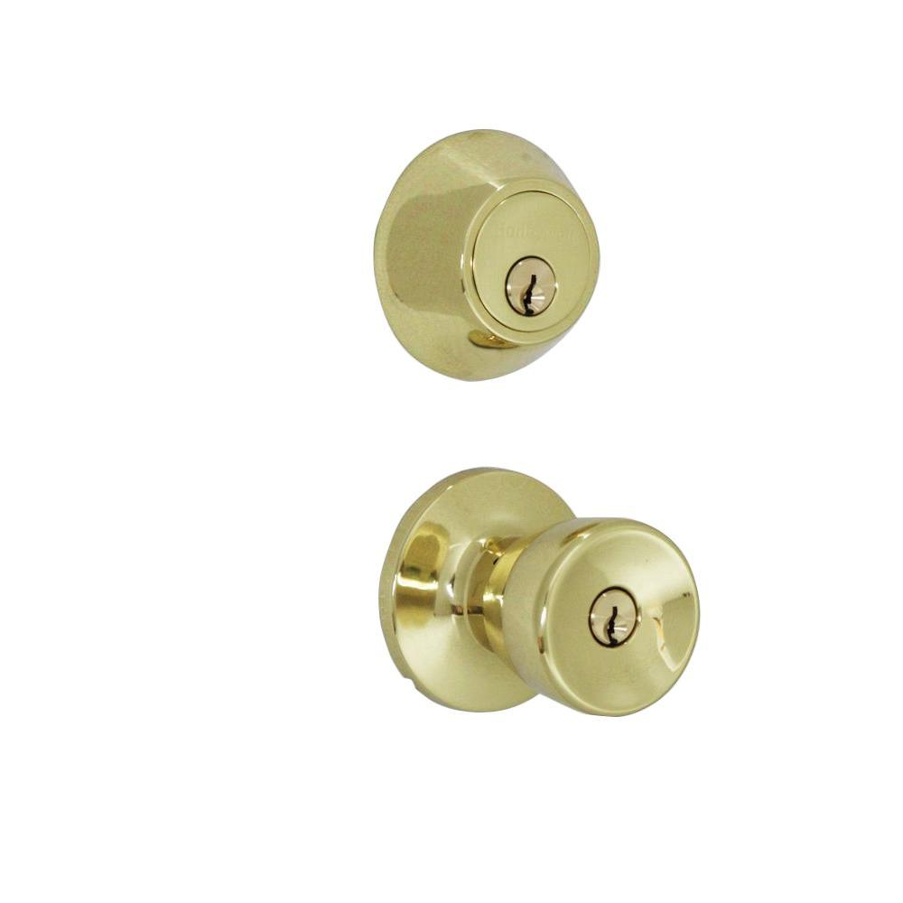 Honeywell Polished Brass Tulip Knob Door Lock Home Security Kit
