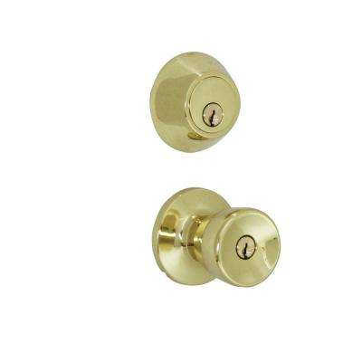 Polished Brass Tulip Knob Door Lock Home Security Kit