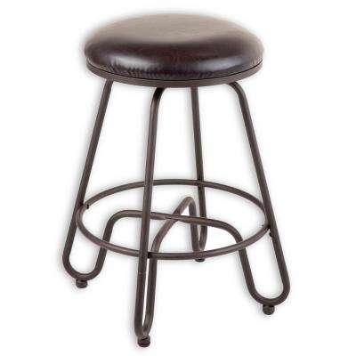 Denver 30 in. Metal Bar Stool with Backless Brown Upholstered Swivel-Seat and Umber Metal Frame Finish