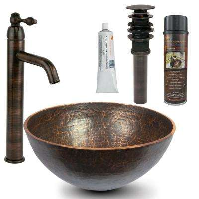 All-in-One Round 13 in. Hand Forged Old World Copper Vessel Sink and Faucet in Oil Rubbed Bronze