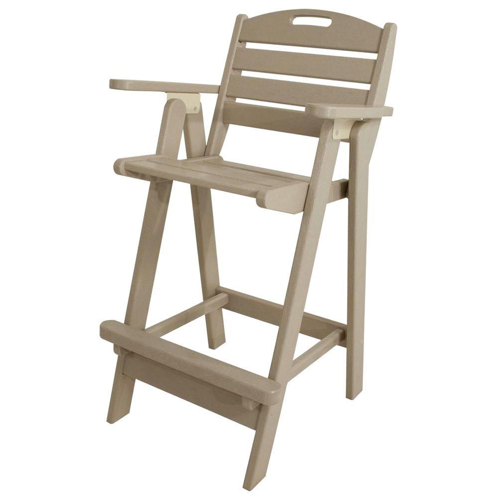 Nautical Sand Plastic Outdoor Patio Bar Chair