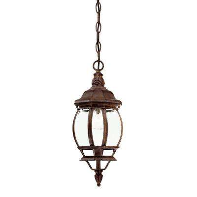 Chateau Collection 1-Light Burled Walnut Outdoor Hanging Lantern