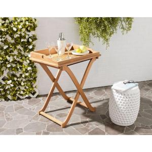 Safavieh covina teak brown patio tray table pat6716a the home depot Home depot teak patio furniture