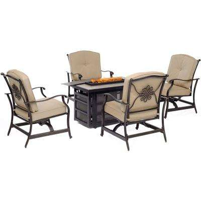 Traditions 5-Piece 30,000 BTU Aluminum Patio Outdoor Seating Set with Tan Cushions and Cast-Top Fire Pit Table