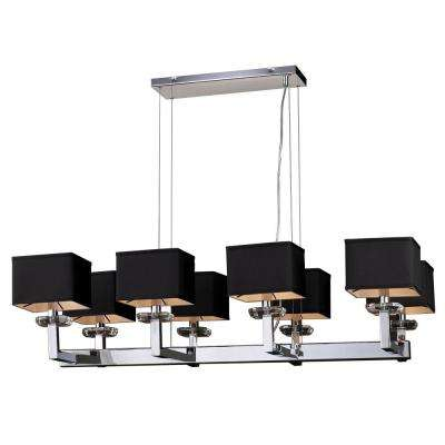 8-Light Polished Chrome Chandelier with Black Fabric Shade and Clear Glass Shade