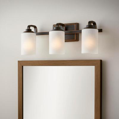 3-Light Oil-Rubbed Bronze Vanity Light with Frosted Patterned Glass Shade