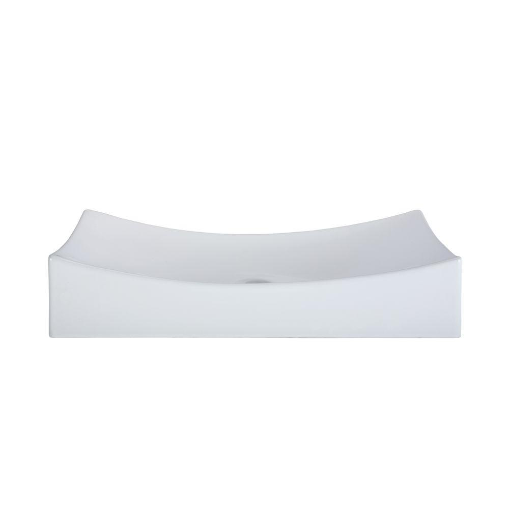 RYVYR Above Counter Rectangular Vitreous China Vessel Sink in White