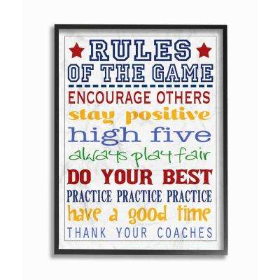 """11 in. x 14 in. """"Rules of the Game Blue and Red Typography"""" by Reesa Qualia Wood Framed Wall Art"""
