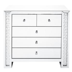 Timeless Home 5-Drawer in Clear Mirror Storage Cabinet 35 in. H x 39.5 in. W x 20 in. D