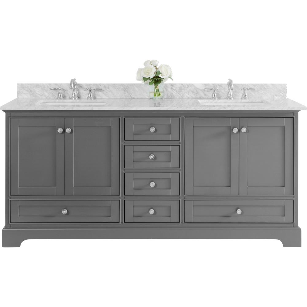 Ancerre Designs Audrey 72 in. W x 22 in. D Vanity in Sapphire Gray with Marble Vanity Top in White with White Basins