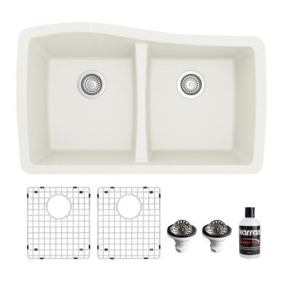 QU-720 Quartz/Granite Composite 32 in. Double Bowl 60/40 Undermount Kitchen Sink with Grids & Basket Strainers in White