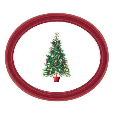 14.5 in. x 18.25 in. Multi-Color Melamine Oh Christmas Tree Oval Platter (3-Pack)