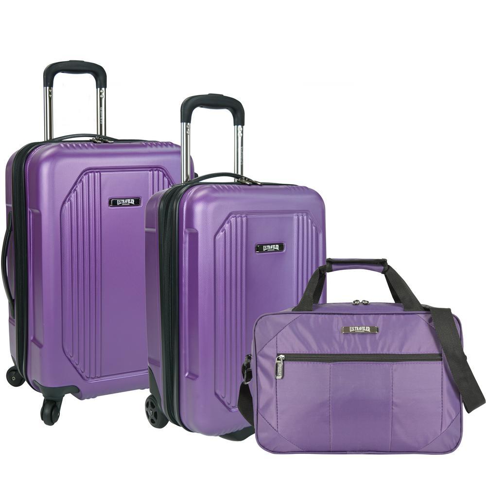 Bloomington 3-Piece Carry-On Spinner Luggage Set, Purple