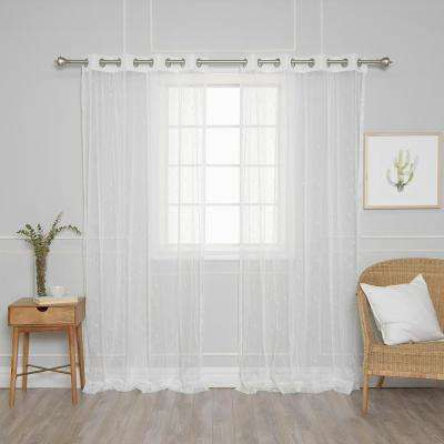 84 in. L Sheer Embroidered Triangle Curtains (2-Pack)