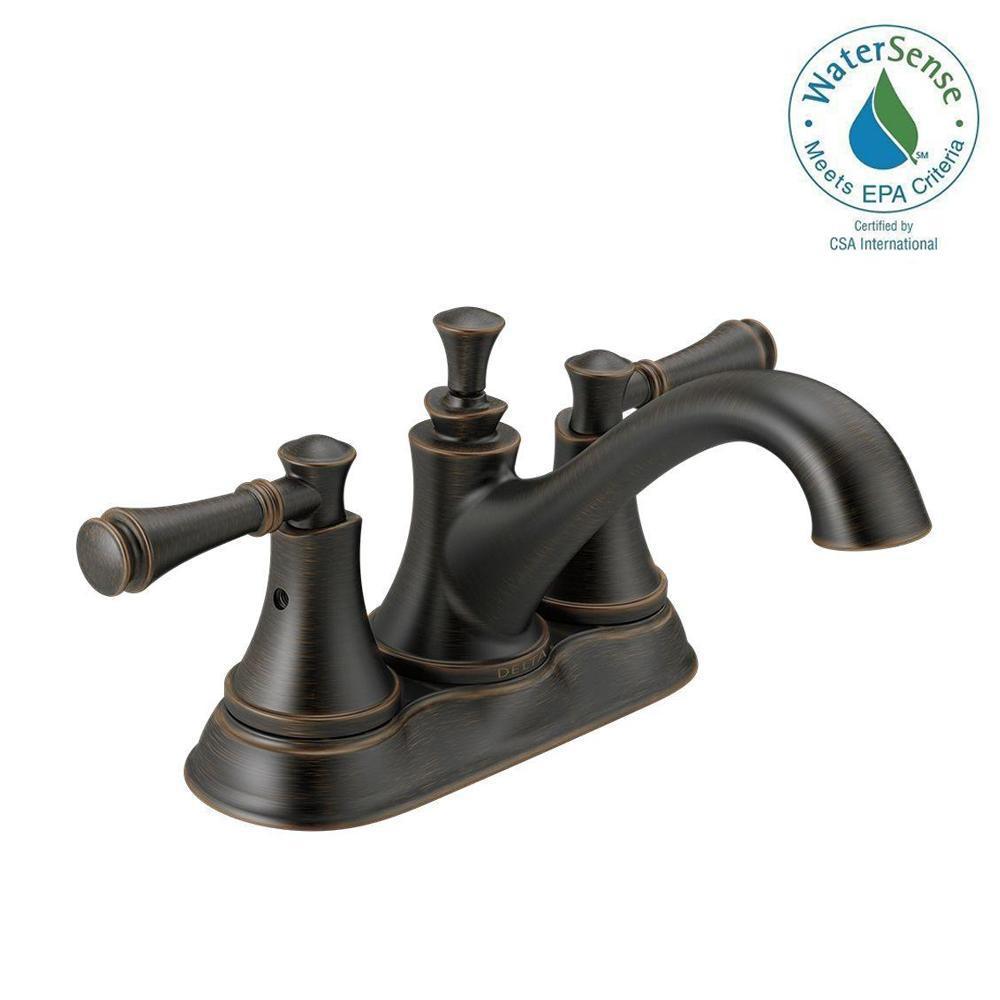 Centerset 2 Handle Bathroom Faucet In SpotShield Venetian Bronze