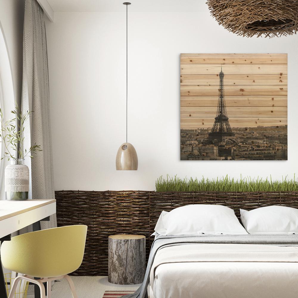 """40 in. x 40 in. """"Eiffel Tower"""" Arte de Legno Digital Print on Solid Wood Wall Art"""