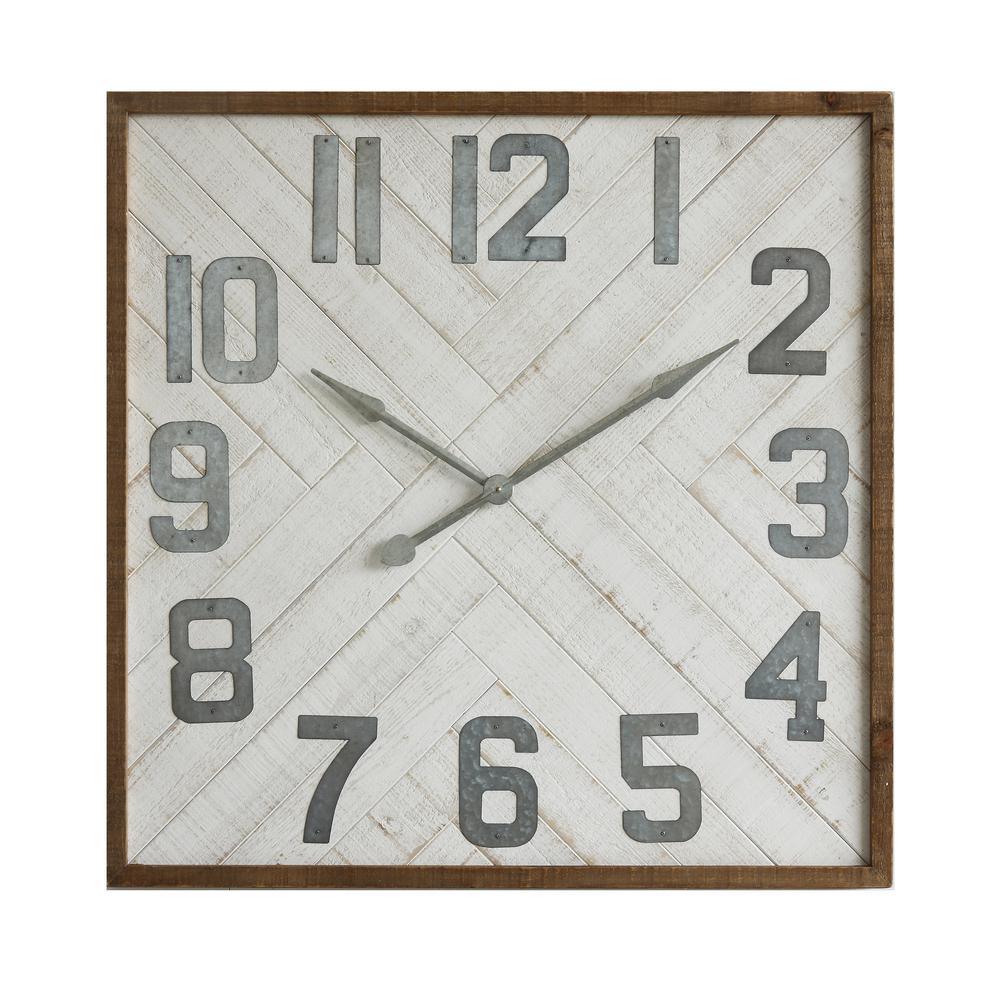 Grey Square Wood and Metal Wall Clock