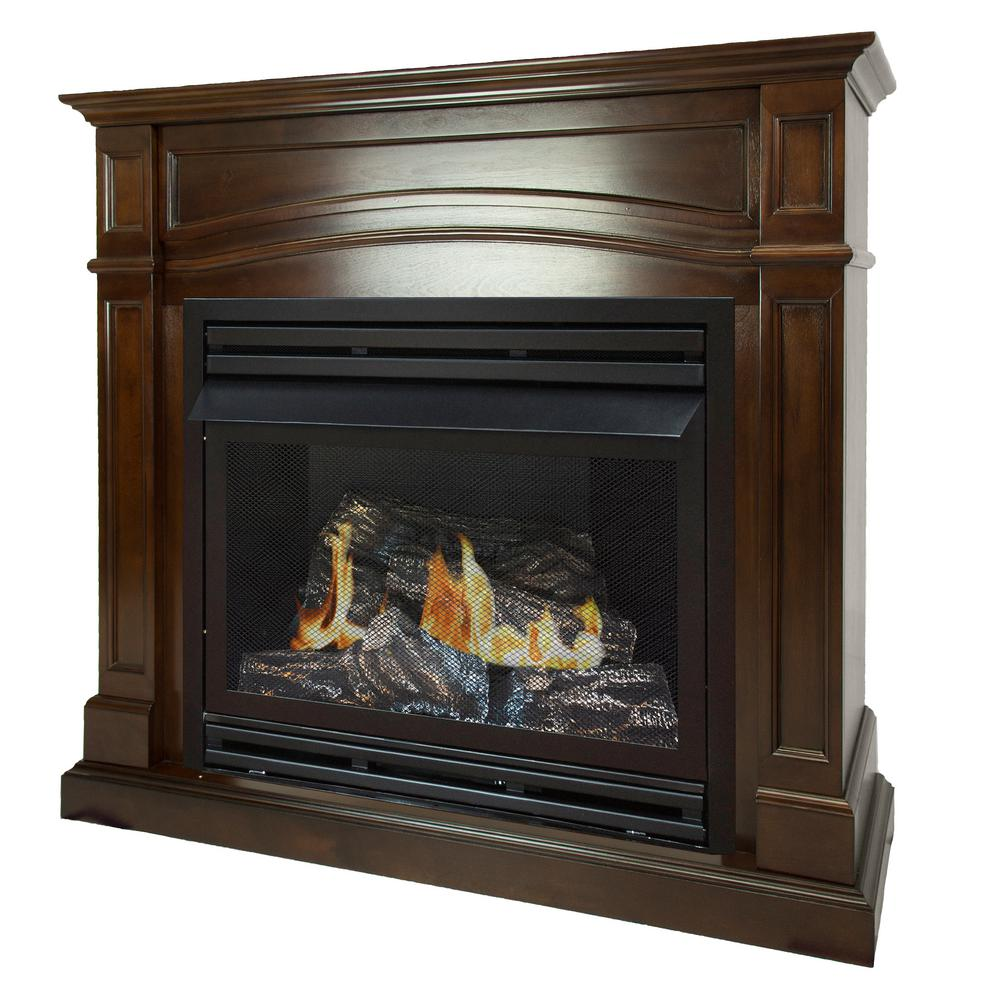Cool Pleasant Hearth 32 000 Btu 46 In Full Size Ventless Natural Gas Fireplace In Cherry Beutiful Home Inspiration Truamahrainfo