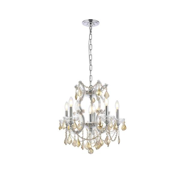 Timeless Home 20 in. L x 20 in. W x 25 in. H 6-Light Chrome with Golden Teak Crystal Contemporary Pendant