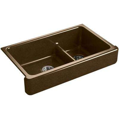 Whitehaven Undermount Farmhouse Short Apron-Front Cast Iron 36 in. Double Bowl Kitchen Sink in Black 'n Tan
