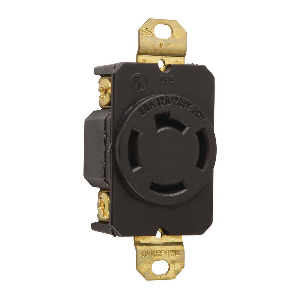 Non-NEMA 20 Amp 120/208-Volt Locking Receptacle, Black-7410 - The ...