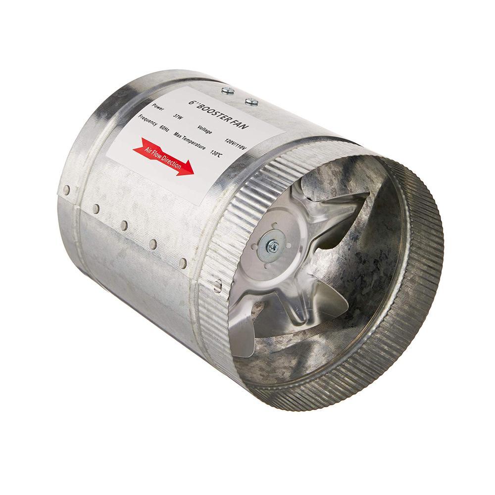 240 CFM 6 in. Inline Duct Booster Fan for Indoor Garden Ventilation