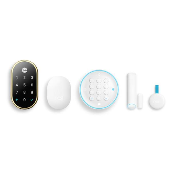 Polished Brass Secure Wireless Alarm System Starter Pack and Nest x Yale Lock with Connect