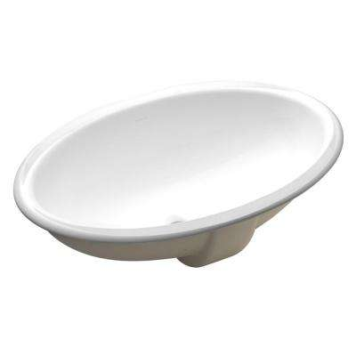 Vintage Vitreous China Undermount Bathroom Sink in White with Overflow Drain