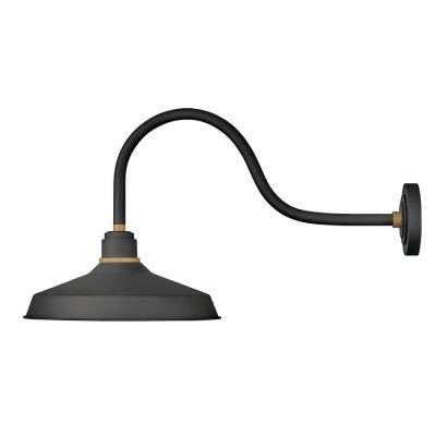Foundry Large 1-Light Textured Black Outdoor Gooseneck Wall Sconce