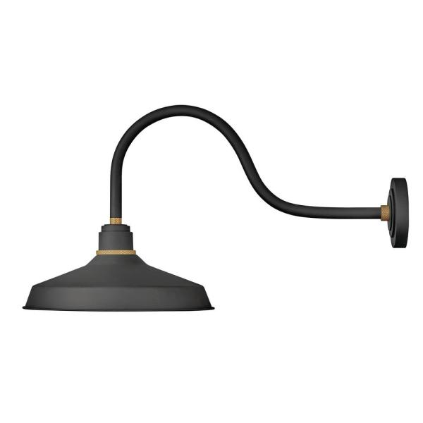 Hinkley Lighting Foundry Large 1 Light Textured Black Outdoor Gooseneck Wall Sconce 10453tk The Home Depot